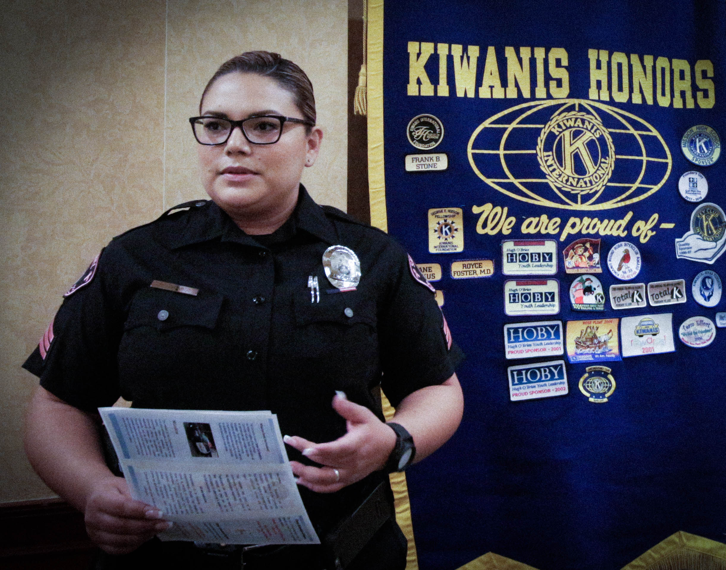 2018-09-27 Sergeant Rebecca Gomez telling us about volunteering with the San Gabriel police Dept.